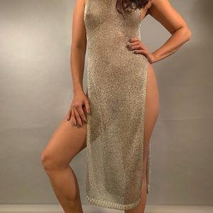 Sexy Silver Mesh Bodycon Dress